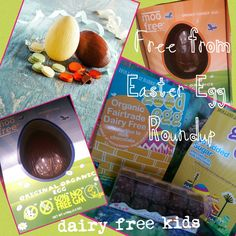 Round up of Free From Easter Eggs. All Dairy Free and Gluten Free and indications for those which are Nut Free and Soya Free, Vegan and Organic also. Dairy Free Easter Eggs, Nut Free, Food Allergies, Baked Goods, Activities For Kids, Gluten Free, Vegan, Chocolate, Baking