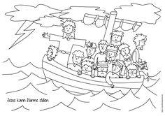 Jesus stillt den Sturm Ausmalen