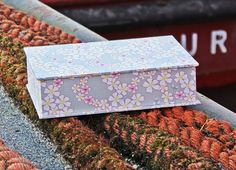 Box desk, box, Jewelry box, box photos, knitting needle  box,  fabric-related case,  box taupe with pink cherry blossoms