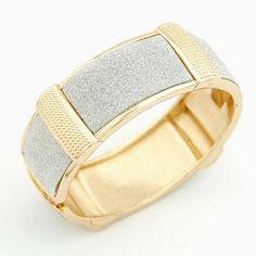 Crunchy Fashion Silver Shimmer Golden Cuff #cuff