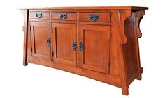 Arts & Crafts / Mission / Crofter Style Oak Sideboard. A great piece for many areas of the house including as an entry cabinet, buffet, or console table. - Made with solid quarter sawn oak - This is a