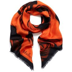 Mulberry Printed Rose Floating Rose Wrap ($235) ❤ liked on Polyvore featuring accessories, scarves, bright orange, orange shawl, wrap shawl, patterned scarves, bright shawl and orange scarves