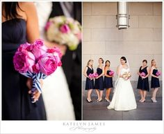 I love these bridesmaids dresses and the bouquets!  Navy/fuschia are the colors for the wedding
