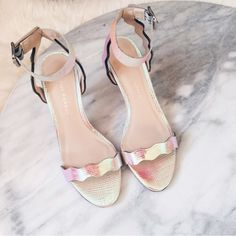 "Loeffler Randall Iridescent Reina kitten heels Purchased from a lovely Posher and never wore them :( they need an owner who will take them out of the box. 2.75"" heel. Iridescent saffiano leather. New in box. Loeffler Randall Shoes Heels"