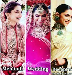Image may contain: 3 people, text Indian Look, Dress Indian Style, Indian Dresses, Deepika Padukone Style, Deepika Ranveer, Ranveer Singh, Wedding Guest Style, Bridal Style, Bollywood Wedding