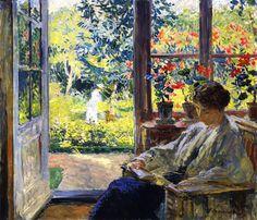 The Athenaeum - Woman Reading by a Window (Gari Melchers - circa 1905)