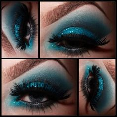 Bold blue eyes  UDPP as a base.. MAC electric eel @Illamasqua Ltd Ltd Ltd obsidian and sex  the glitter is too faced starry eyed liner