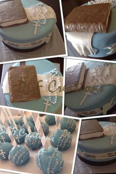 Boy Holy Communion cake with Bible made in Rice Krispies and matching cake pops