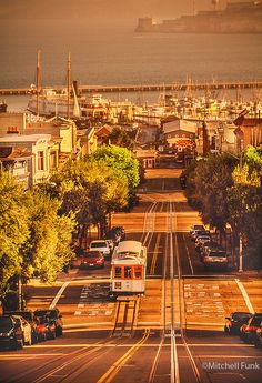 Cable Car On Hyde Street At Sunrise, San Francisco  www.mitchellfunk.com