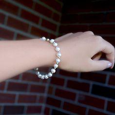 Natural White Round Pearl Circle Women Girl Bracelet 925 Sterling Silver 6Grape
