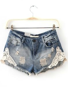 Navy Bleached Ripped Lace Denim Shorts