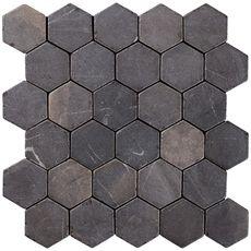 Konradssons Indostone hexagon gråsvart 6x6cm   Stonefactory.se