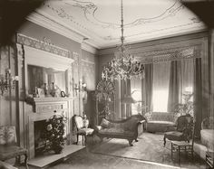 Victorian parlor, photo by Harris & Ewing, Washington D.C., c. 1910    This sharp old photo was shot in a home at 1603 K Street, N.W. in the District of Columbia. The photographers identified it as the Taft house. Perhaps William Howard Taft used it when he was not in the White House.  | eBay
