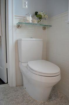 One Story Building - bathrooms - Restoration Hardware Asbury Glass Shelf, Daltile Subway Tiles, Aquia III Dual Flush Toilet, asbury glass sh...