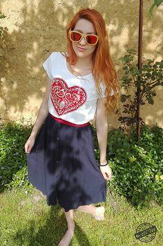 entee / Ľudové srdiečko ♥ červené dámske tričko