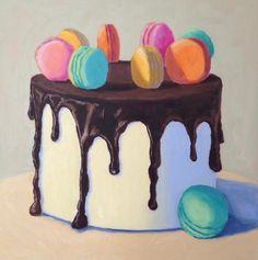 Pat Doherty - Chocolate Macaron Cake, Oil Painting For Sale at Cupcake Kunst, Cupcake Art, Cake Drawing, Food Drawing, Cake Illustration, Food Illustrations, Macaron Cake, Macarons, Sweet Drawings