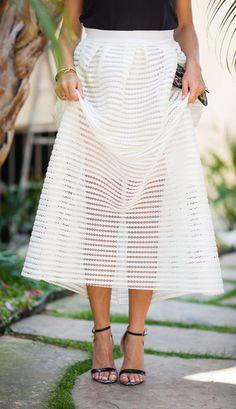 Sheer stripes midi skirt