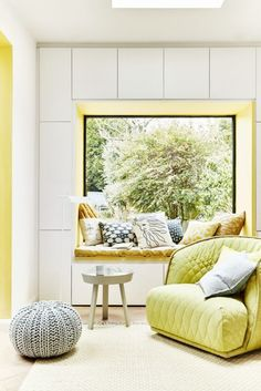 Painting the recess wall of a window or window seat is a great way to introduce an accent to a scheme. Coordinate with an eclectic mix of patterned cushions.