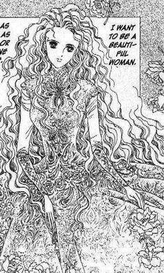 "Princess with long wavy hair from ""Moon Child"" series by manga artist Reiko Shimizu."
