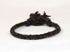 Eco Friendly Black Recycled Fiber Bracelet Kumihimo Mens Jewelry Dark Tone Mans Gift Jewelry