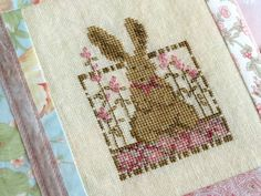 Primitive Easter Bunny Cross Stitch PDF Pattern by countrygarden.  Cute cover for a baby book.