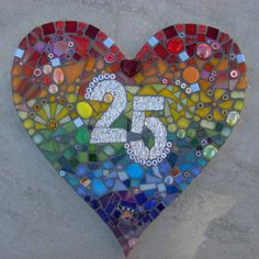 Personalised Anniversary, Wedding gift, Large Mosaic heart,  Custom order, bespoke, Silver, Golden, Ruby, wall hanging, plaque, by FunkyMosaicsUK on Etsy