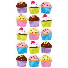 EK-SUCCESS-STICKO-BRIGHT-CUPCAKES-BIRTHDAY-PARTY-FOOD-GLITTER-SCRAPBOOK-STICKERS