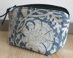 Blue and white zipper case pouch made from vintage Indian print batik fabric. Organize for back to school, makeup, and other accessories.
