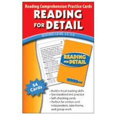 """Reading for Detail Reading Comprehension Practice Cards, Green Level by Edupress. $7.30. Award-winning cards help students truly understand what they read! Available in three reading levels. Each card features a leveled passage and a multiple-choice question. Color coded by level and skill. Self-checking question cards. One instruction card per set. Set of 54 3-1/2 x 5-1/2"""" cards."""