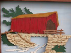 Red Covered Bridge 3 D Wall Hanging Covered Bridges, Wall Hangings, 3 D, Painting, Covered Decks, Painting Art, Paintings, Paint, Draw