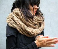 A chunky infinity scarf feels fresh this Fall.