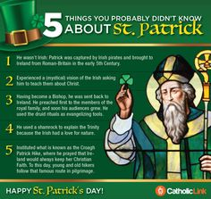 Infographic: 5 Things You Probably Don't Know About St. Patrick's Day Catholic-Link offers images, videos, articles and more for the New Evangelization Catholic News, Catholic Quotes, Catholic Saints, Catholic Theology, Patron Saints, St Patrick Quotes, Unity Quotes, Sacrifice Quotes, Bishop Barron