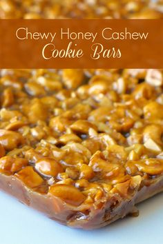 "Honey Cashew Cookie Bars are chock full of crunchy cashews in decadent, chewy honey caramel. Use salted cashews for a ""Sweet and Salty"" version."