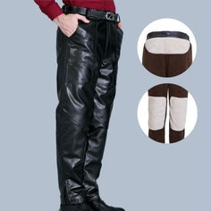 Mens PU Leather Motorcycle Biker Pants Windproof Winter Thick Warm Trousers  | eBay