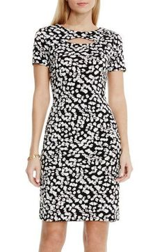 Vince Camuto 'Random Dabs' Print Keyhole Detail Jersey Sheath Dress available at… Office Dresses, Casual Dresses, Fashion Dresses, Dresses For Work, Black And White Graffiti, Black White, White Tunic Tops, Nordstrom Dresses, Dress Patterns