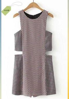 Chic Round Neck Sleeveless Cut Out Geometric Print Women's Romper