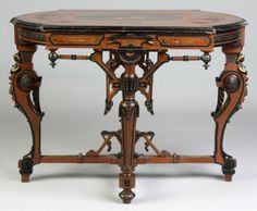 Victorian Walnut And Ebonized Inlaid Table With Musical Theme Inlay