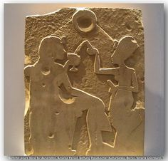 Unfinished stela: Nefertiti pours wine for Akhenaton From Amarna. New Kingdom, dynasty, 1345 BC. Ancient Mysteries, Ancient Artifacts, Ancient Egypt, Ancient History, Pyramids Egypt, Egypt Civilization, Cairo Museum, Egypt News, Visit Egypt
