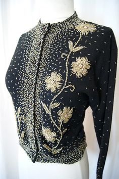 1950s Black Lambs Wool & Angora Hand Beaded Cardigan
