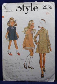 Vintage Sewing Pattern for a Set of Girl's Dresses for Age 8 - Style 2959 by TheVintageSewingB on Etsy