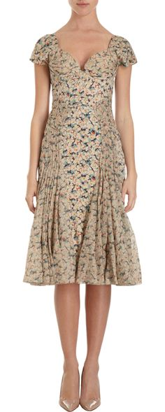 Zac Posen Floral Bustier Cap Sleeve Dress