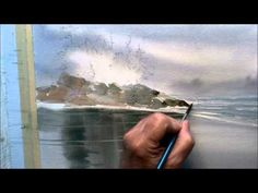Watercolor seascape painting tutorial on wet paper with rocks and trees