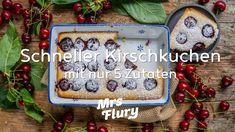 Schneller Kirschkuchen mit nur 5 Zutaten - vegan backen Sweet Pastries, Tray, Baking, Christmas Ornaments, Holiday Decor, Youtube, Healthy Sweets, Healthy Desserts, Vegan Cake
