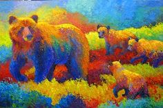 Grizzly Family by Marion Rose Oil ~ 20 x 30