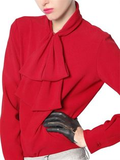 FALL 2013 TOP 100 SHADES OF RED | DSQUARED - VISCOSE CREPE SABLE SHIRT WITH BOW