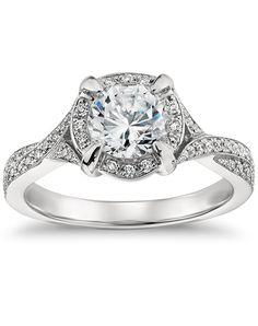 Twisted  Halo Diamond Engagement Ring