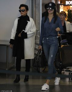 Ready for the Met Gala: Kendall Jenner and her mother Kris Jenner arrived to JFK Airport i...