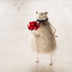 Lady Killer-Mother's Day Gift-Rat with Red Rose-Fun Knitted Animal-Home Decoration-Romantic keepsake-Rat Plush-Mouse Soft Toy-Candyfleece-UK