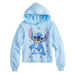 Disney's Lilo & Stitch Girls Long Sleeve Cropped Hoodie, Girl's, Size: Large, Light Blue – Stitch - To Have a Nice Day Disney Cute, Cute Disney Outfits, Cute Lazy Outfits, Disney Inspired Outfits, Disney Clothes, Lilo And Stitch Hoodie, Lilo Stitch, Stitch Sweatshirt, Lilo And Stitch Clothing