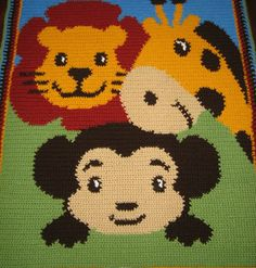 crochet safari animals | Details about Baby ZOO Safari Animals Afghan Crochet Pattern Graph